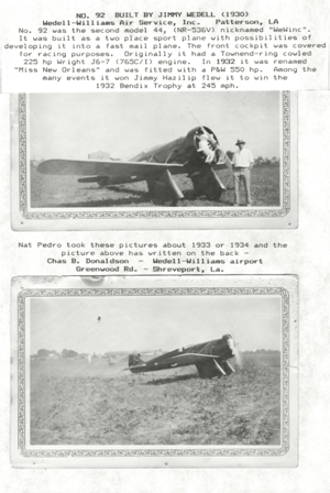Jimmy Weddel and His Aircraft